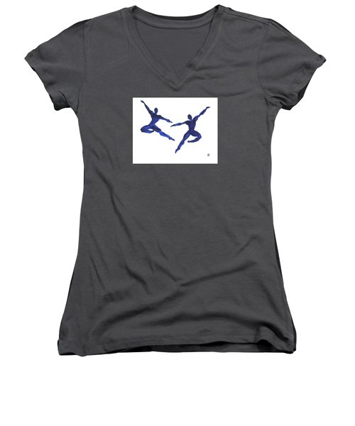 Duo Leap Blue Women's V-Neck T-Shirt