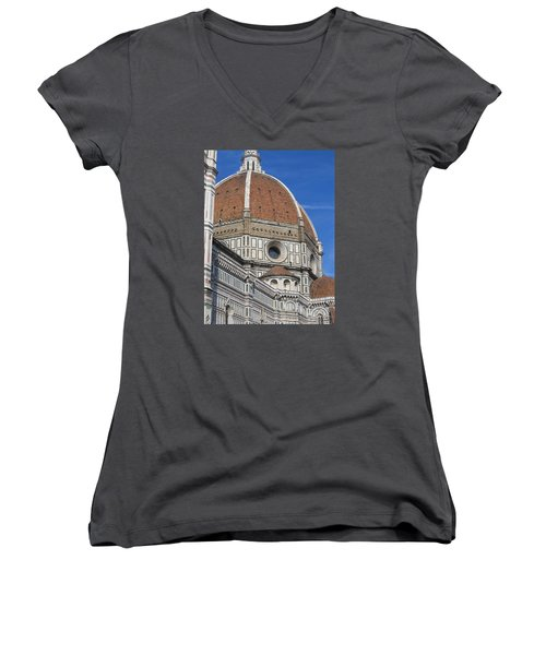 Duomo Cathedral Florence Italy  Women's V-Neck T-Shirt (Junior Cut) by Lisa Boyd