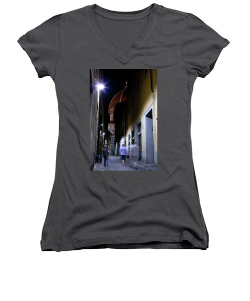 Women's V-Neck featuring the photograph Duomo In The Dark by Matthew Wolf