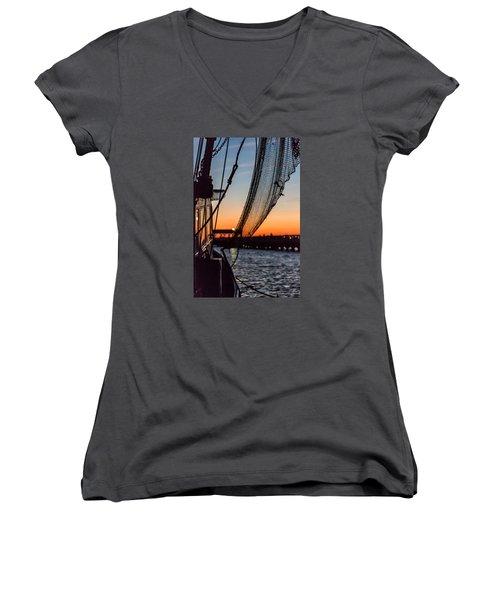 Dusk At Shem Creek Pier In Mt. Pleasant, Sc Women's V-Neck T-Shirt