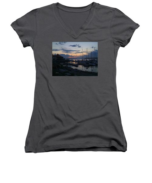 Women's V-Neck T-Shirt (Junior Cut) featuring the photograph Dusk Begins To Sleep by Felipe Adan Lerma