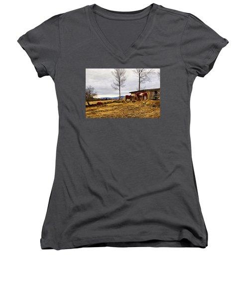 Dusk Feeding On The Farm Women's V-Neck T-Shirt (Junior Cut) by Betty Pauwels