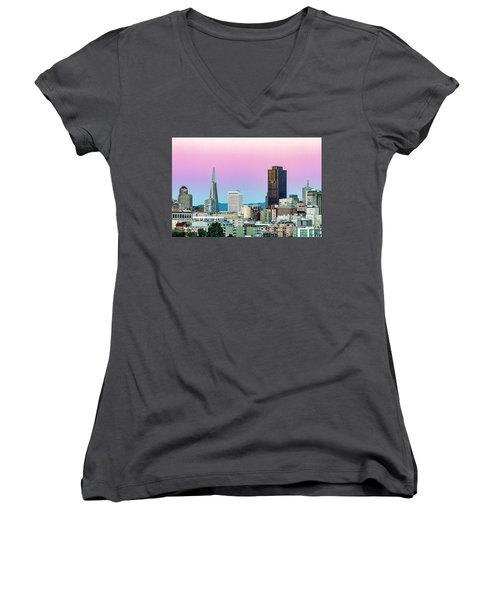Women's V-Neck T-Shirt (Junior Cut) featuring the photograph Dusk In San Francisco by Bill Gallagher