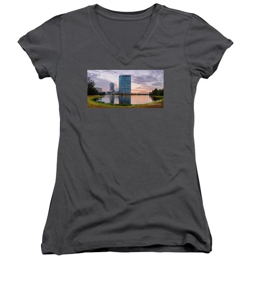Dusk Panorama Of The Woodlands Waterway And Anadarko Petroleum Towers - The Woodlands Texas Women's V-Neck (Athletic Fit)
