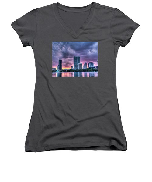 Dusky Downtown Orlando, Florida Women's V-Neck (Athletic Fit)