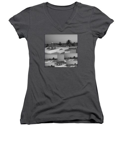 Dusky Rooftops Women's V-Neck T-Shirt (Junior Cut) by Linda Prewer
