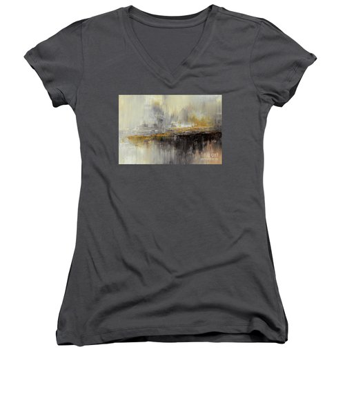 Women's V-Neck T-Shirt (Junior Cut) featuring the painting Dusty Mirage by Tatiana Iliina