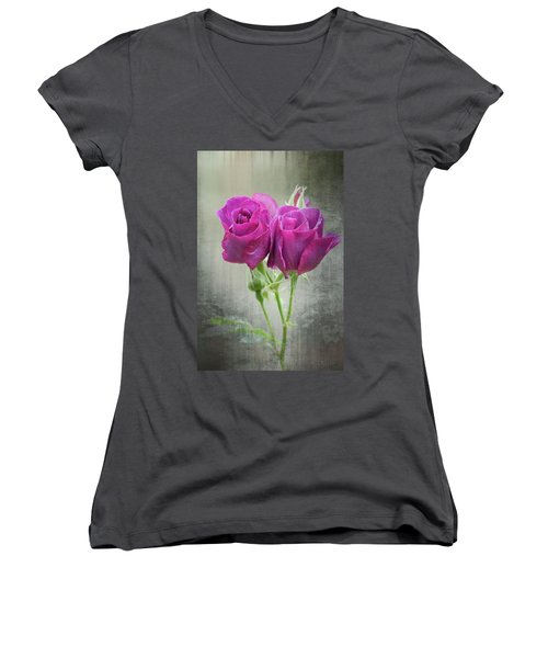 Dusty Roses Women's V-Neck (Athletic Fit)