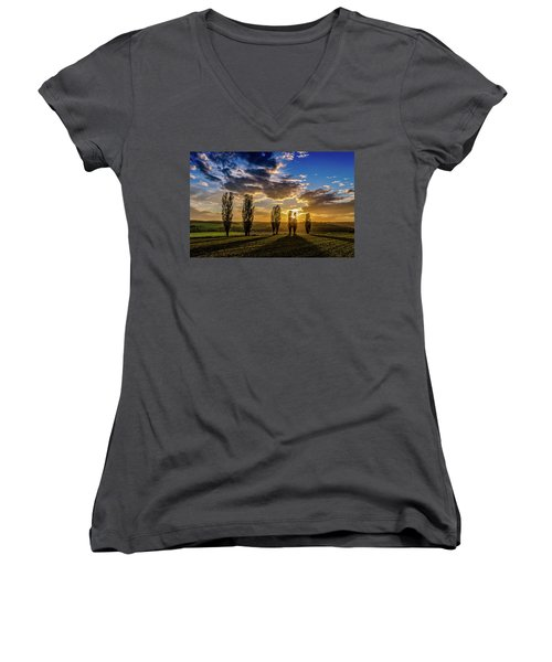 Dutch Moutains At Sunset Women's V-Neck (Athletic Fit)