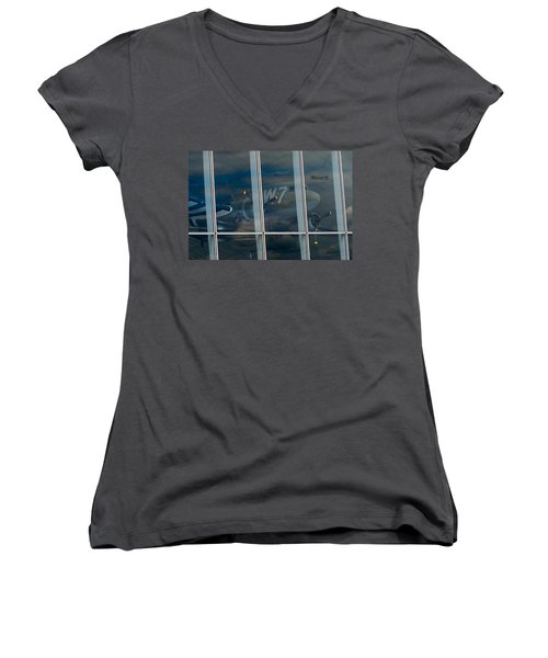 Women's V-Neck T-Shirt (Junior Cut) featuring the photograph Duxford Dakota Daydream by Gary Eason
