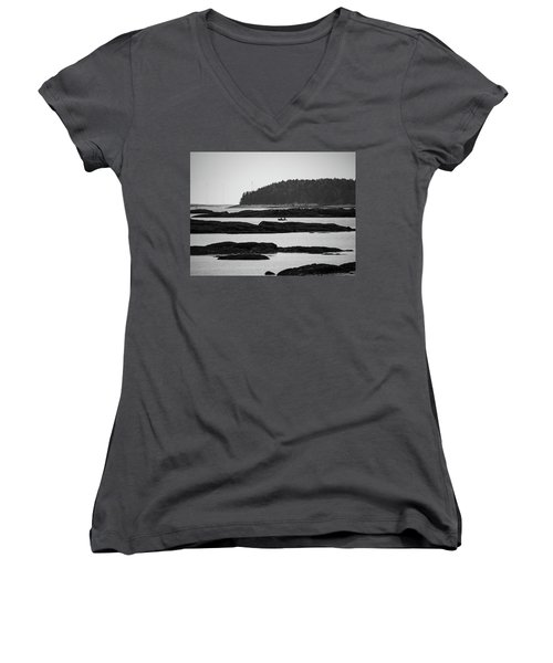Women's V-Neck T-Shirt (Junior Cut) featuring the photograph Dwon East Maine  by Trace Kittrell