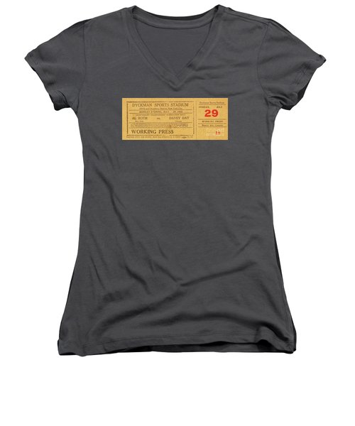 Dyckman Oval Ticket Women's V-Neck T-Shirt (Junior Cut) by Cole Thompson