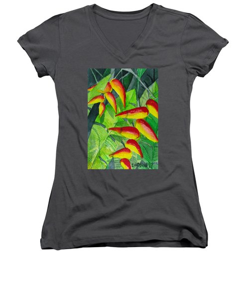 Women's V-Neck T-Shirt (Junior Cut) featuring the painting Dynamic Halakonia by Eric Samuelson