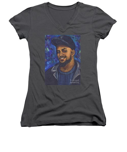 Women's V-Neck T-Shirt (Junior Cut) featuring the painting E by Alga Washington