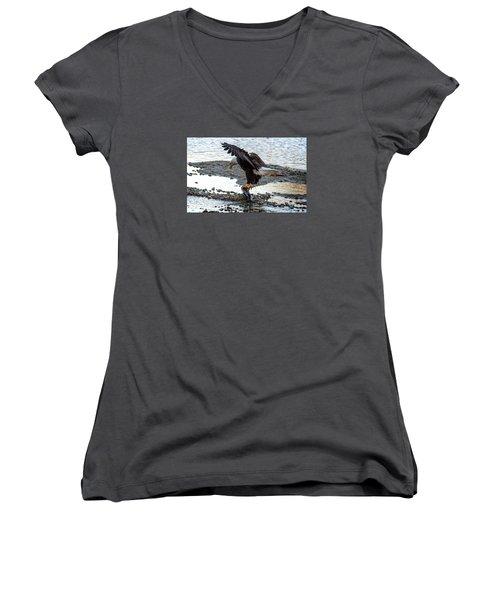 Eagle Dinner Women's V-Neck T-Shirt (Junior Cut) by Sabine Edrissi