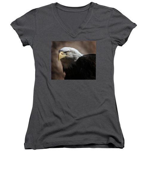 Women's V-Neck T-Shirt (Junior Cut) featuring the photograph Eagle Eyed by Marie Leslie