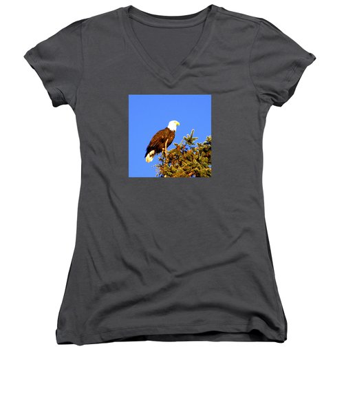 Eagle Women's V-Neck T-Shirt (Junior Cut) by Jerry Cahill