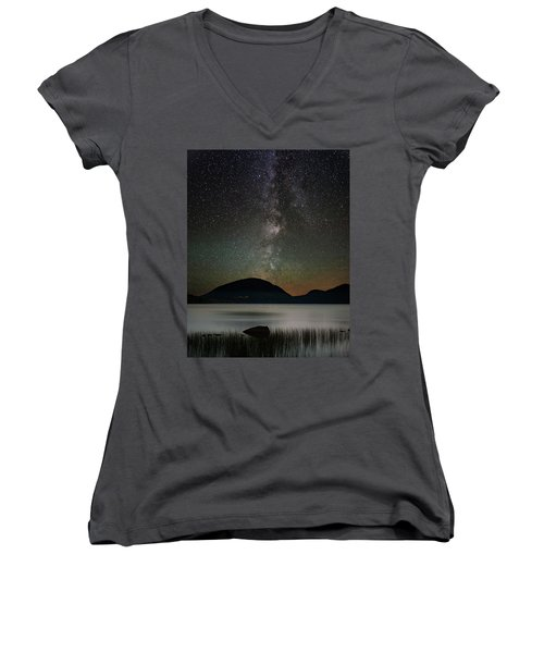 Eagle Lake And The Milky Way Women's V-Neck