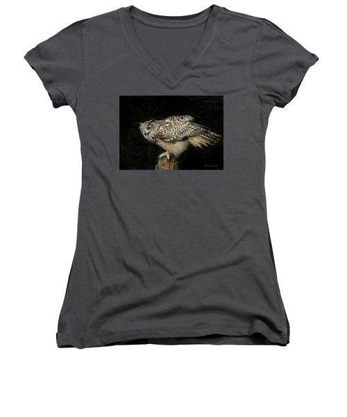 Eagle-owl Women's V-Neck T-Shirt (Junior Cut) by CR Courson