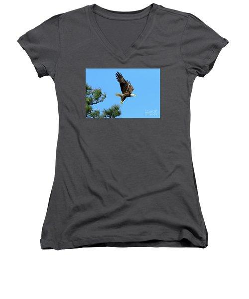 Women's V-Neck T-Shirt (Junior Cut) featuring the photograph Eagle Series 1 2017 by Deborah Benoit