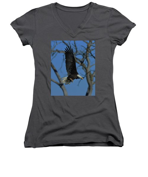 Eagle With Fish Women's V-Neck T-Shirt (Junior Cut)