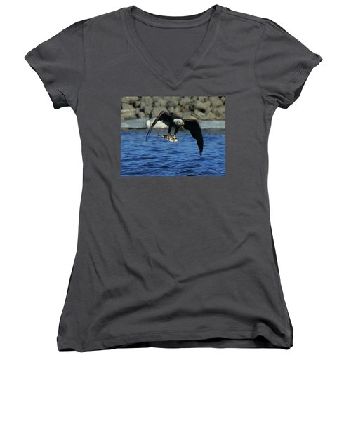 Eagle With Fish Flying Women's V-Neck T-Shirt (Junior Cut)