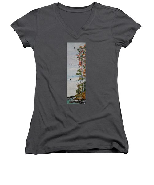 Women's V-Neck T-Shirt (Junior Cut) featuring the painting Eagles Point by Marilyn  McNish