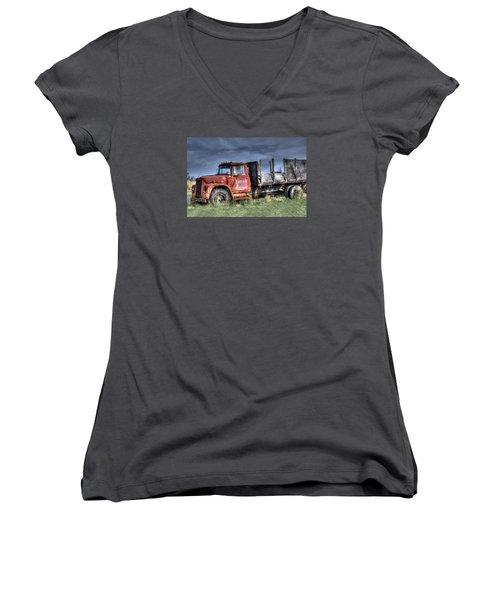 Women's V-Neck T-Shirt (Junior Cut) featuring the photograph Earl Latsha Lumber Company Version 2  by Shelley Neff