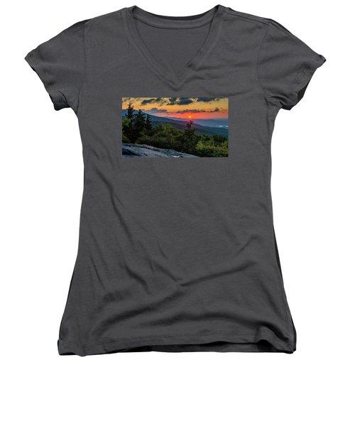Blue Ridge Parkway Sunrise - Beacon Heights - North Carolina Women's V-Neck