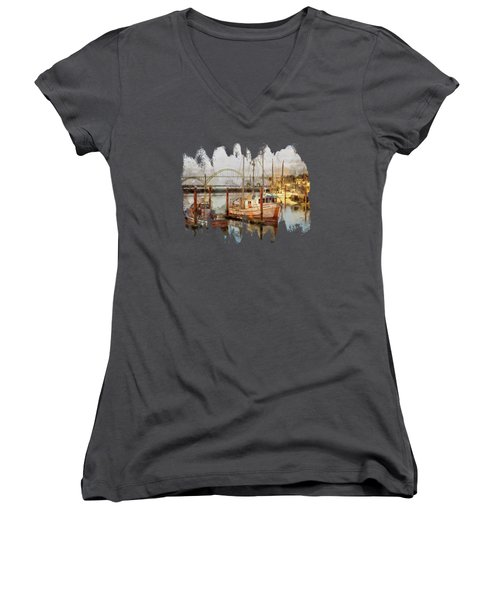Early Light On Yaquina Bay Women's V-Neck T-Shirt