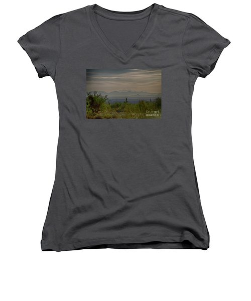 Women's V-Neck T-Shirt (Junior Cut) featuring the photograph Early Morning by Anne Rodkin