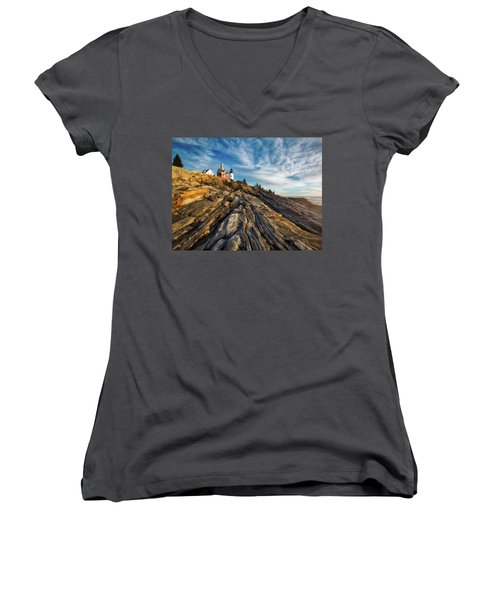 Women's V-Neck T-Shirt (Junior Cut) featuring the photograph Early Morning At Pemaquid Point by Darren White