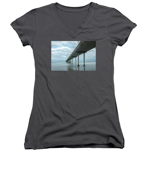 Early Morning By The Ocean Beach Pier Women's V-Neck