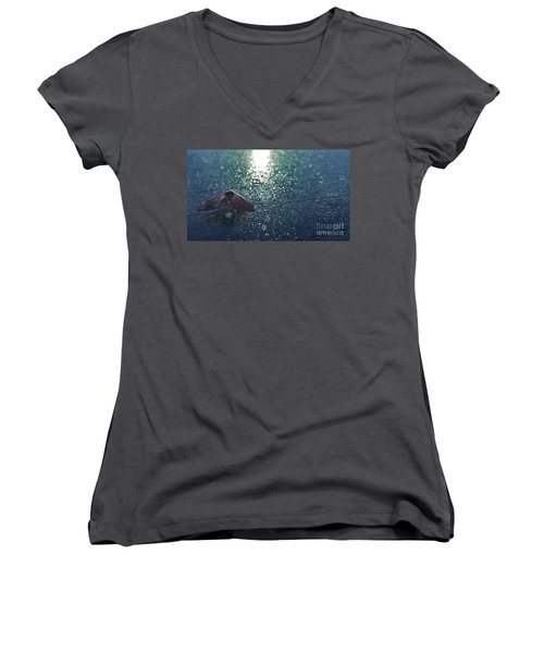 From A Window Of A Car Women's V-Neck T-Shirt (Junior Cut) by Donna Brown