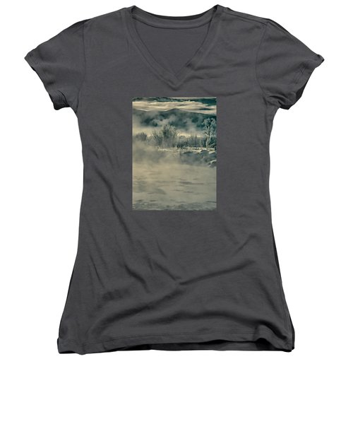 Women's V-Neck T-Shirt (Junior Cut) featuring the photograph Early Morning Frost On The River by Don Schwartz