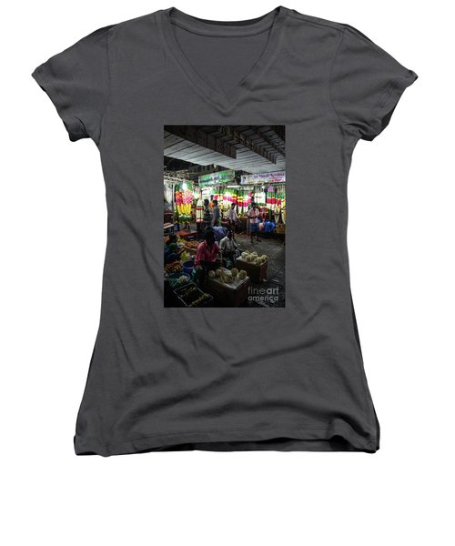Women's V-Neck T-Shirt (Junior Cut) featuring the photograph Early Morning Koyambedu Flower Market India by Mike Reid