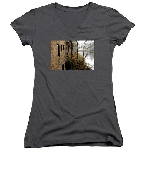 Women's V-Neck T-Shirt (Junior Cut) featuring the photograph Early Morning Mist  by Paula Guttilla