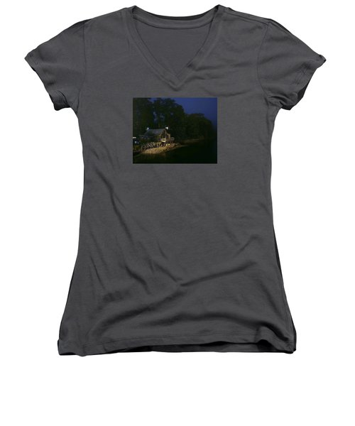 Early Morning On The River Women's V-Neck