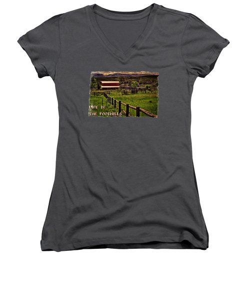 Early Morning Pastures In The Foothills Women's V-Neck