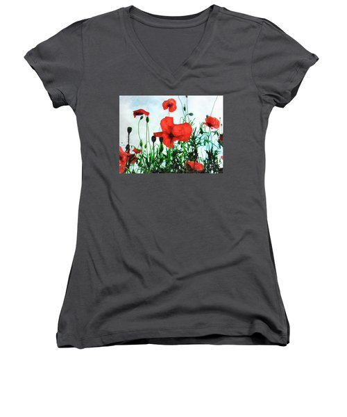 Early Morning Poppy Moment Women's V-Neck (Athletic Fit)