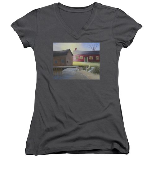 Early Morning Sun At The Shop Women's V-Neck (Athletic Fit)