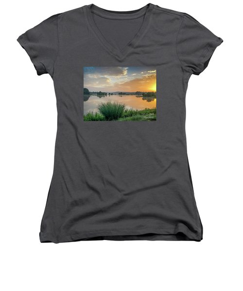 Early Morning Sunrise On The Lake Women's V-Neck (Athletic Fit)