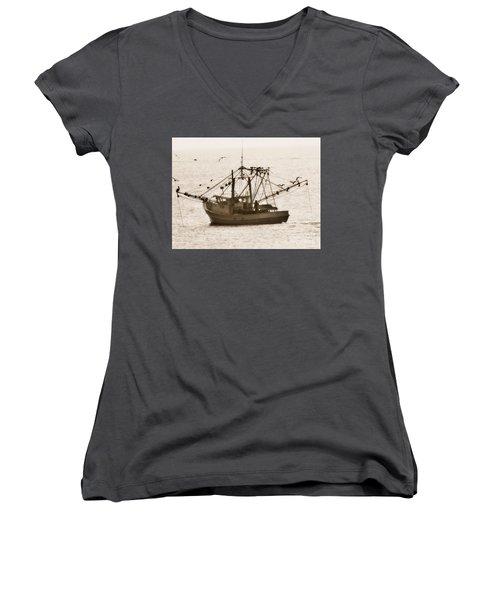 Early Morning Trawling  Women's V-Neck T-Shirt (Junior Cut) by Christy Ricafrente