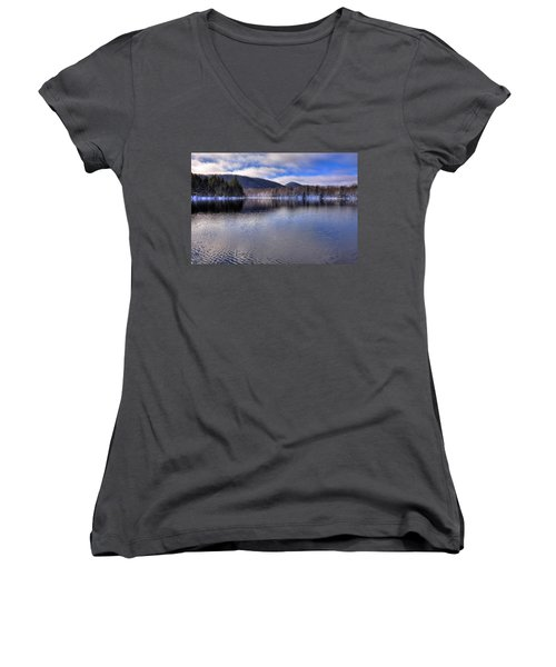 Early Snow On West Lake Women's V-Neck T-Shirt (Junior Cut) by David Patterson