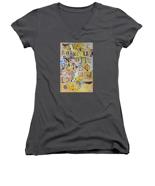 Early Song Of Words Women's V-Neck T-Shirt