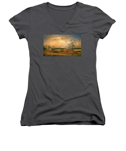Early Spring Storm Women's V-Neck T-Shirt (Junior Cut) by John Rivera