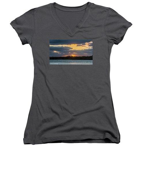 Early Sun Women's V-Neck T-Shirt (Junior Cut) by Nance Larson
