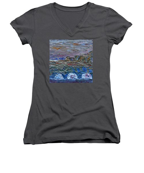 Women's V-Neck T-Shirt featuring the painting Early Winter In New Jersey by Vadim Levin