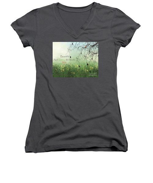 Earth Day 2016 Women's V-Neck T-Shirt (Junior Cut) by Trilby Cole