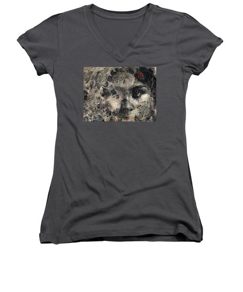Women's V-Neck T-Shirt (Junior Cut) featuring the photograph Earth Memories - Stone # 7 by Ed Hall